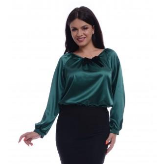 Bluza Dama Verde de Satin cu funda detasabila
