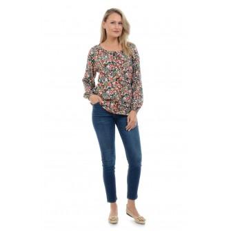 Bluza Dama Ie cu Microimprimeu Floral Multicolor