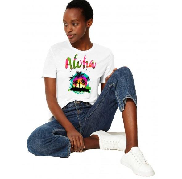 Tricou dama alb -  Aloha Exotic