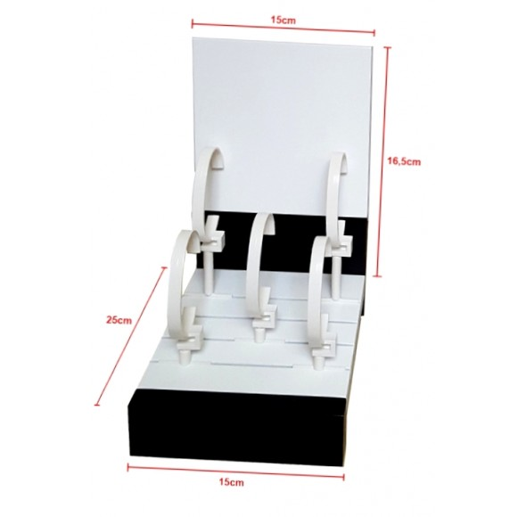 Ceas 5 WATCHES DISPLAY 1 LEVEL 15X16.5 + 6 PLASTIC STANDS LACQUERED WOOD - MADE IN ITALY AMI1210