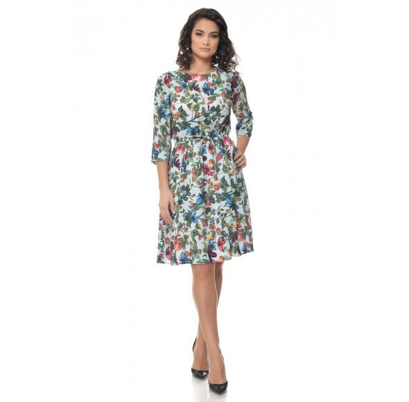 Rochie Multicolor cu snur in talie si model floral