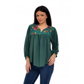 Bluza Dama platca verde imprimeu floral