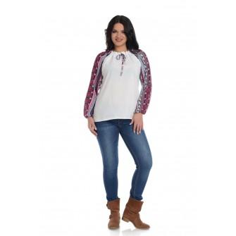 Bluza IE Dama Alba cu Maneci Imprimeu