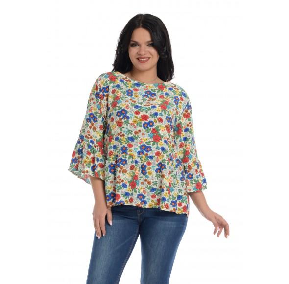 Bluza de dama, cu volane si imprimeu floral