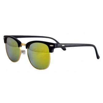 Ochelari de soare Clubmaster Retro Verde Reflexii - Negru