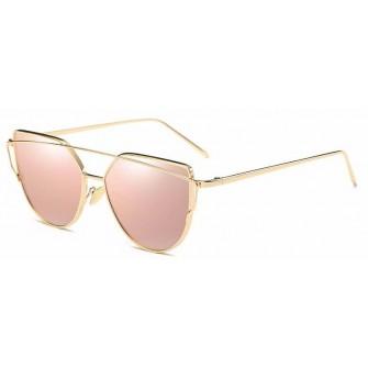 Ochelari de soare Ochi de Pisica Cat eye Oglinda Roz cu Auriu