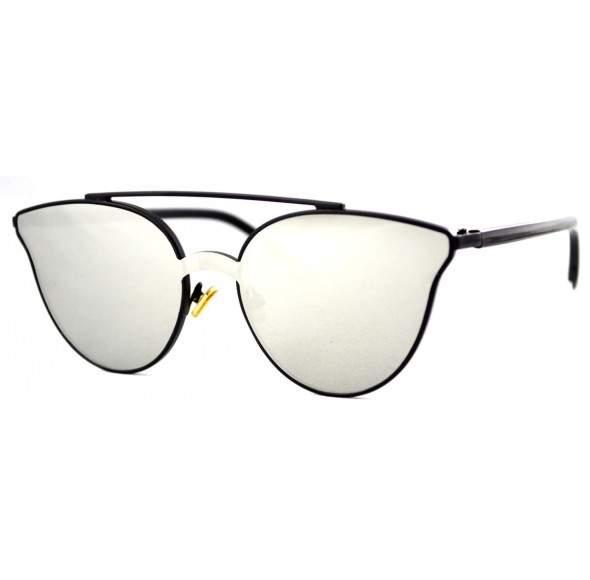 Ochelari de soare Ochi de Pisica Cat eye Oglinda Argintiu - Negru