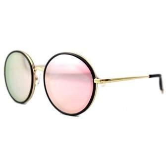 Ochelari de soare Rotunzi Oglinda Roz - Auriu