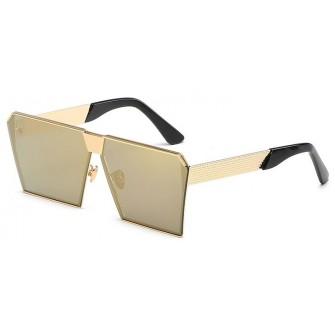 Ochelari de soare Rectangular Plat Oglinda Auriu cu nuanta Verde - Auriu