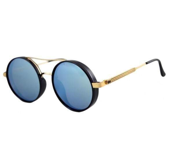 Ochelari de soare Rotunzi Bleu Oglinda cu Auriu