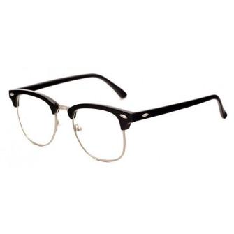 Ochelari - Rame cu lentile transparente Clubmaster Retro Negre cu Argintiu