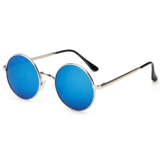 Ochelari de soare Rotunzi Retro John Lennon Albastru cu Argintiu