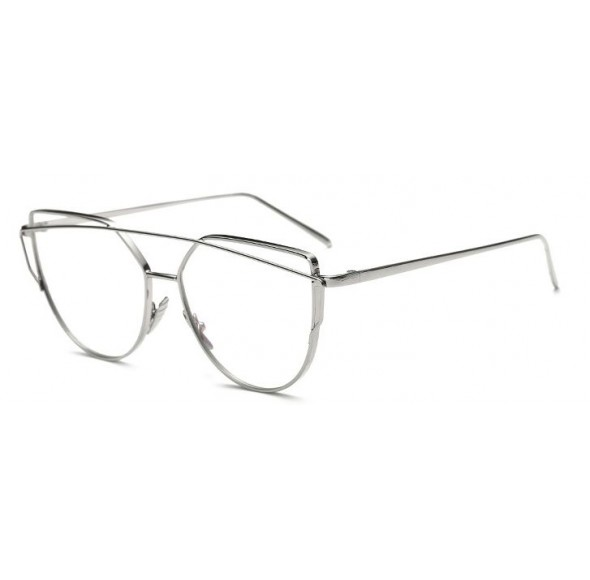 Rame - Ochelari cu lentile transparente Cat eye Ochi de Pisica Argintiu