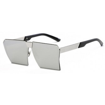 Ochelari de soare Rectangular Plat Oglinda Gri - Argintiu