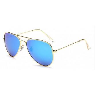 Ochelari de soare Aviator Bleu cu Auriu, Polarizati