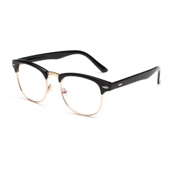 Ochelari - Rame cu lentile transparente Retro Negre-Auriu