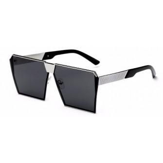 Ochelari de soare Rectangular Plat Oglinda Negru cu Argintiu