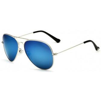 Ochelari de soare Aviator Bleu Oglinda cu Argintiu