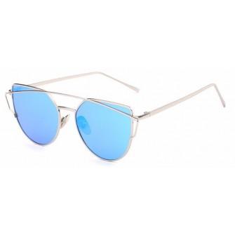 Ochelari de soare Ochi de Pisica Cat eyes Oglinda Bleu cu Argintiu