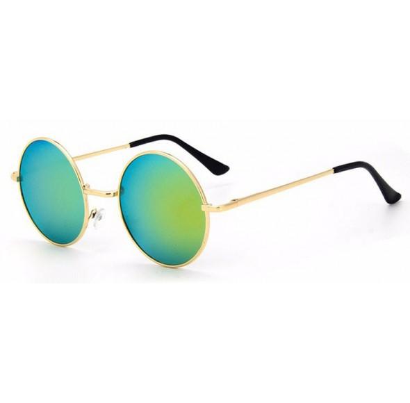 Ochelari de soare Rotunzi Retro John Lennon Verde cu reflexii - Auriu