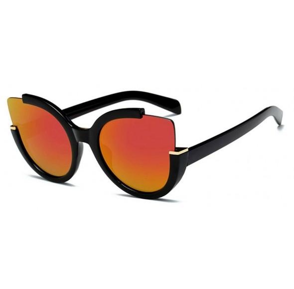 Ochelari de soare Ochi de Pisica Rosu Oglinda cu reflexii - Negru