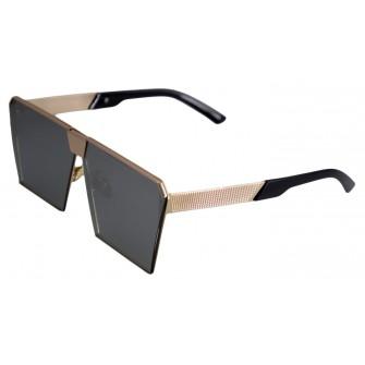 Ochelari de soare Rectangular Plat Oglinda Gri - Auriu