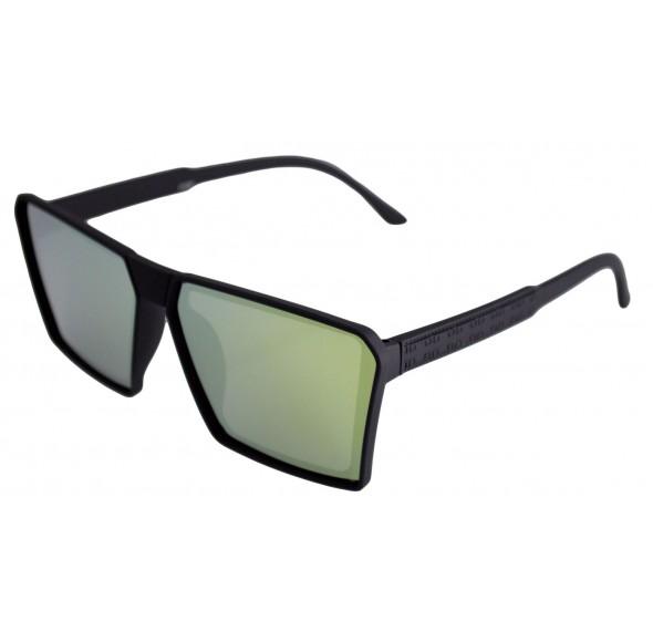 Ochelari de soare Rectangular Plat II Negru Reflexii Verzi