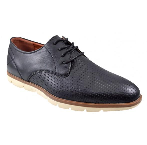 Pantofi negri barbati perforati cu talpa crem