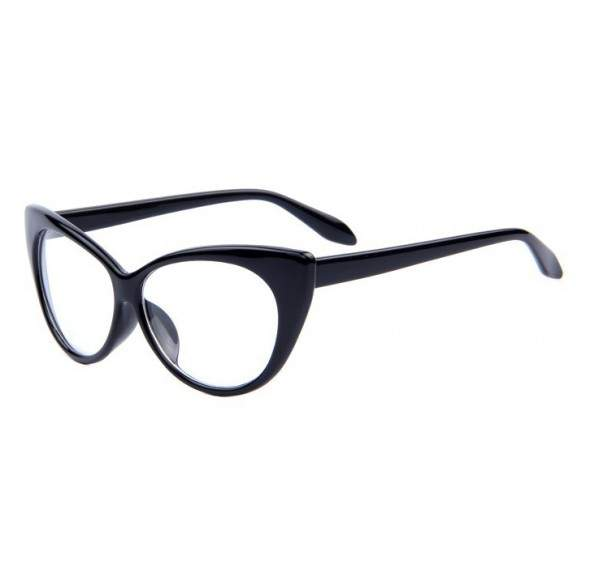 Ochelari tip rame cu lentile transparente Ochi de pisica - Negru