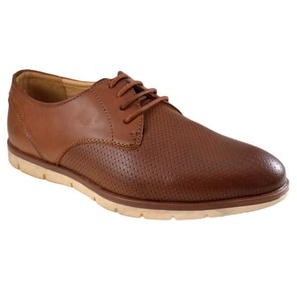 Pantofi maro barbati perforati cu talpa crem II