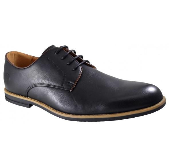 Pantofi barbatesti negri cu bordura bej