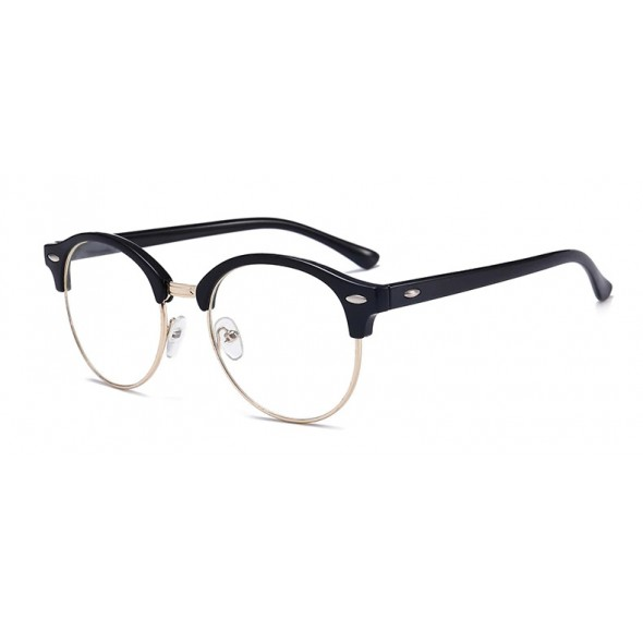Ochelari - Rame cu lentile transparente Clubmaster Retro rotunde Negre - Argintiu