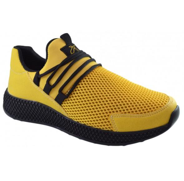 Pantofi Casual Barbati, Galbeni din Panza cu Talpa Neagra din Spuma