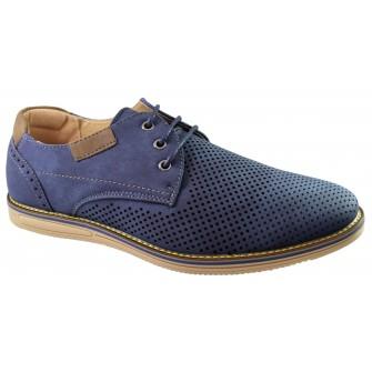 Pantofi barbati bleumarin perforati cu sireturi
