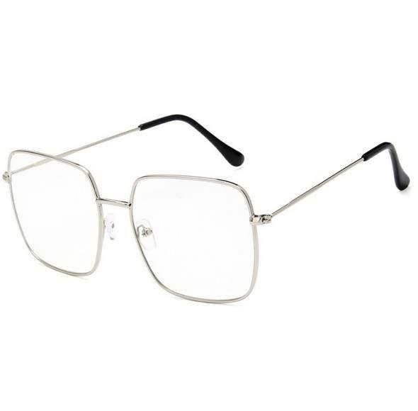 Ochelari - Rame cu lentile transparente Rectangular Argintiu