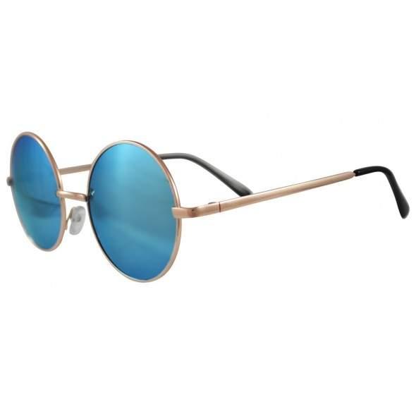 Ochelari de soare Rotunzi Retro John Lennon Albastru cu Auriu