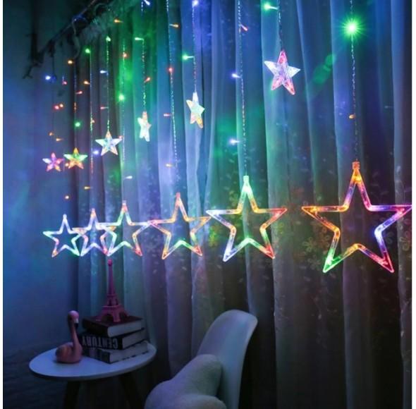 Instalatie decorativa, plasa de stele luminoasa Craciun pentru interior, Multicolor, 140 leduri- 4m, interconectabila