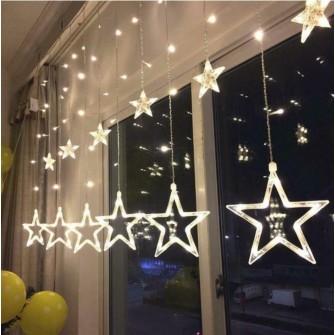 Instalatie decorativa, plasa de stele luminoasa Craciun pentru interior, lumina alba, 140 leduri- 4m, interconectabila