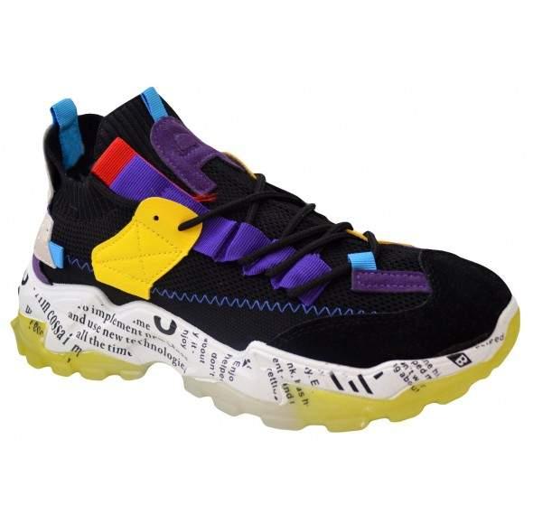 Pantofi Casual Barbati, Multicolor din panza si insertii din piele, Talpa Usoara din Spuma