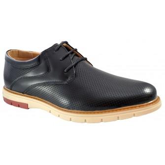 Pantofi negri barbati perforati cu talpa crem III