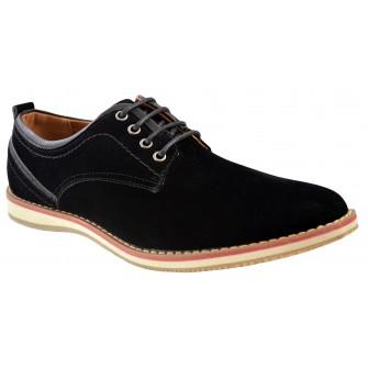 Pantofi barbatesti, negri, piele intoarsa, Huma