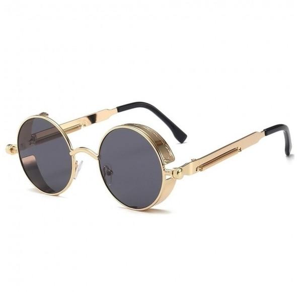 Ochelari de soare Rotunzi Steampunk Negru cu Auriu