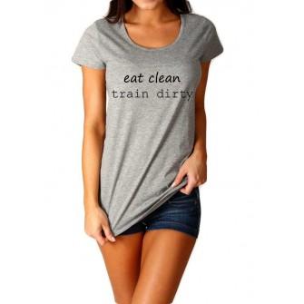 Tricou dama gri  - Eat Clean Train Dirty