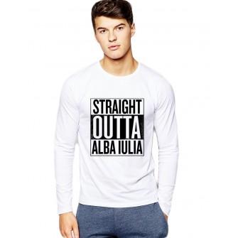 Bluza barbati alba - Straight Outta Alba Iulia