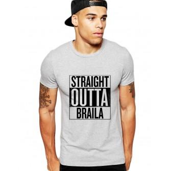 Tricou barbati gri cu text negru - Straight Outta Braila