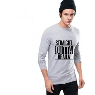 Bluza barbati gri cu text negru - Straight Outta Braila