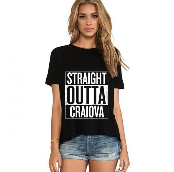 Tricou dama negru - Straight Outta Craiova