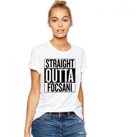 Tricou dama alb -  Straight Outta Focsani