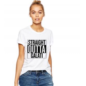 Tricou dama alb -  Straight Outta Galati