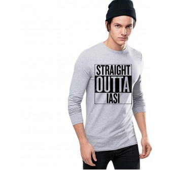 Bluza barbati gri cu text negru - Straight Outta Iasi